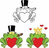 Smiling Frog Holding A Heart Cartoon Characters. Set Collection