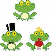 Happy Small Frogs Cartoon Characters. Set Collection