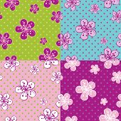 Polka Dot Cherry Flowers Background.spring Seamless Pattern