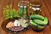 foto of bay leaf  - Cucumbers pickled gherkin dill spice allspice bay leaf mustard pepper in the table - JPG