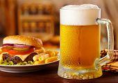picture of hamburger  - cold mug of beer with hamburger and fries - JPG