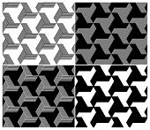 Set of Four B&W Seamless Patterns. Triangle Elements. Vector Illustration