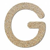 stock photo of sand gravel  - Font rough gravel texture alphabet G with shadow and path - JPG