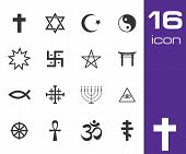 Vector black religious symbols set