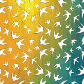 picture of swallow  - abstract mosaic of triangles and the silhouette of the swallow - JPG