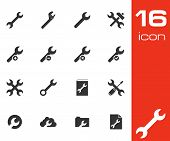 Vector black settings wrench icons set