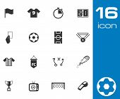 stock photo of offside  - Vector black  soccer  icons set on white background - JPG