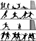 Set of editable vector foreground silhouettes of men playing football with all figures as separate o