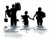 image of flood  - Editable vector illustration of a family carrying belongings through a flood - JPG