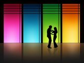 picture of ballroom dancing  - couple is dancing in front of a high window - JPG