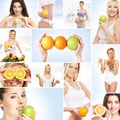 Collage about dieting, healthy eating, fitness, sport, nutrition and health care