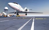 picture of chassis  - A landing private jet on airfield runway - JPG