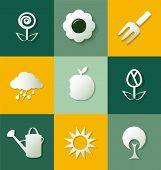 Set Of Gardening Flat Icons