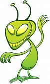 stock photo of maliciousness  - Mischievous green alien with big disturbing eyes - JPG