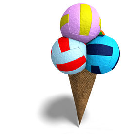 image of ice cream cone  - 3D rendering of volleyballs in an ice cream cone with clipping path and shadow over white - JPG