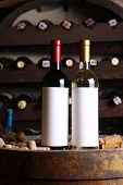 Red And White Wine In Cellar