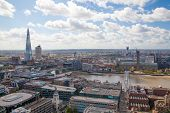 LONDON, UK - AUGUST 9, 2014 London view from St. Paul cathedral. Shard of glass and river Thames