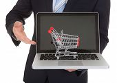 Businessman With Laptop And Shopping Cart Model