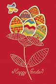 picture of nightingale  - Cards with flower of Easter eggs and flying bird - JPG