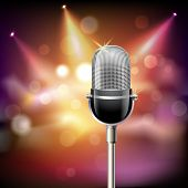 foto of microphone  - Retro music microphone musical equipment emblem on stage background vector illustration - JPG