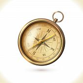 picture of longitude  - Antique brass metal  compass isolated on white background vector illustration - JPG