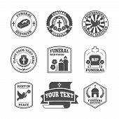 Funeral labels icons set