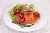 buckwheat crepe with smoked salmon