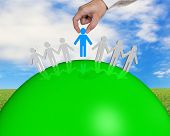 Group Of 3D People Connecting On Green Ball