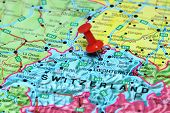 Zurich pinned on a map of europe