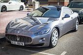 DUBAI, UAE - 2 APRIL 2014: Maserati Gran Turismo car on the street of Dubai, UAE. Dubai is one of th