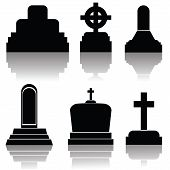 Set Of Gravestone Silhouettes