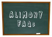 Alimony FAQs words on a chalkboard as answers to questions on financial spousal support for ex husba