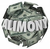 stock photo of mandate  - Alimony word in white 3d letters on a ball or sphere of money to illustrate financial spousal support of ex husband or wife - JPG