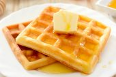 Waffles With Honey And Butter