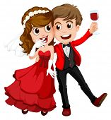 Illustration of a couple who just got married on a white background
