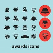 awards black isolated icons, signs, silhouettes, illustrations set, vector