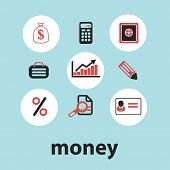 money, finance black isolated icons, signs, silhouettes, illustrations set, vector