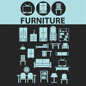 furniture, interior design, room decoration black icons, signs, silhouettes, illustrations set. vect