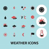 weather, climate, temperature black isolated icons, signs, silhouettes, illustrations set, vector