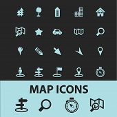 map, route, navigation black icons, signs, silhouettes, illustrations set. vector