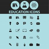 education, learning, science black icons, signs, silhouettes, illustrations set. vector