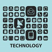 technology, communication black icons, signs, silhouettes, illustrations set. vector