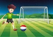 Illustration of a male player kicking the ball with the flag of Netherlands