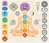 stock photo of vedic  - Silhouette of man with chakras and esoteric symbols - JPG