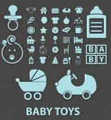 baby, toys, children black icons, signs, silhouettes, illustrations set. vector