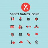 sport games, fintess gym black isolated icons, signs, silhouettes, illustrations set, vector