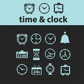 time, clock black icons, signs, silhouettes, illustrations set. vector