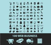 100 web business black icons, signs, silhouettes, illustrations set. vector