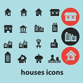 houses, buildings black isolated icons, signs, silhouettes, illustrations set, vector