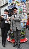 EDINBURGH- AUGUST 16: Members of Lucky Dog Theatre Productions publicize their show Hats Off To Laur